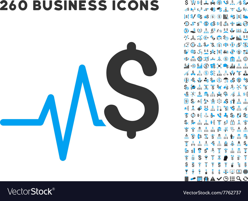 Financial pulse icon with flat set vector