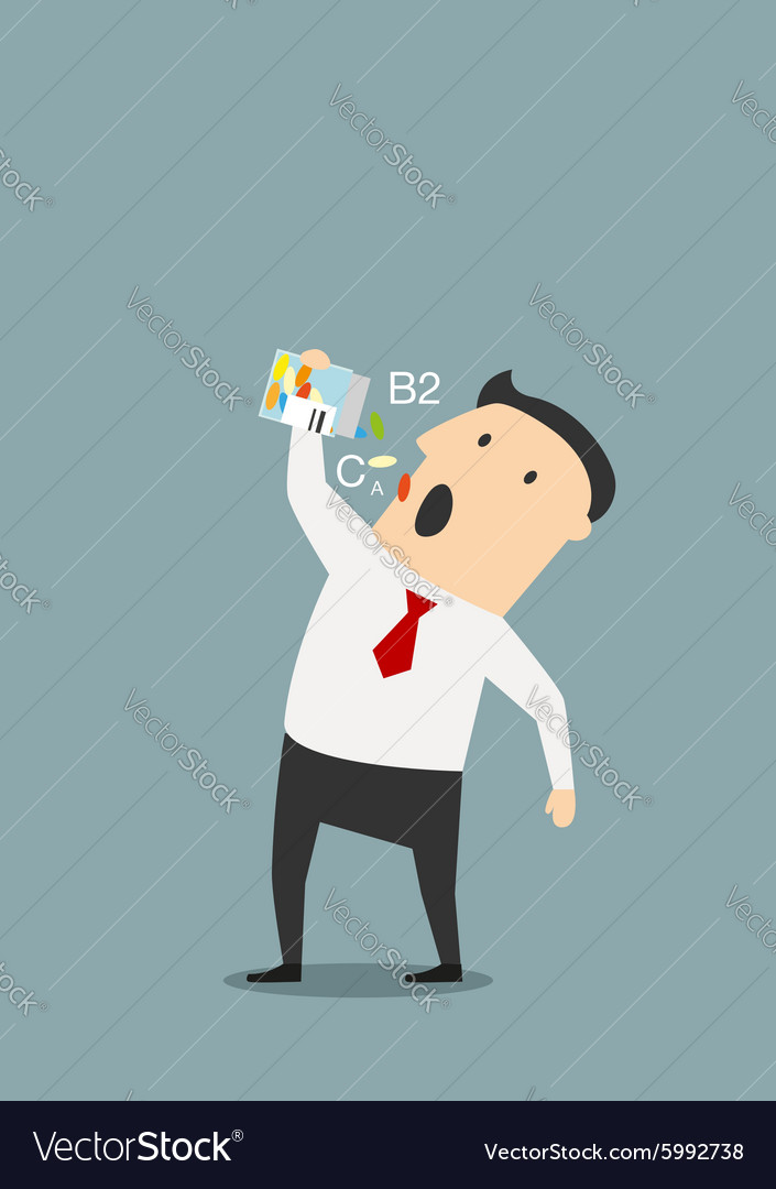 Cartoon businessman taking vitamins pills vector