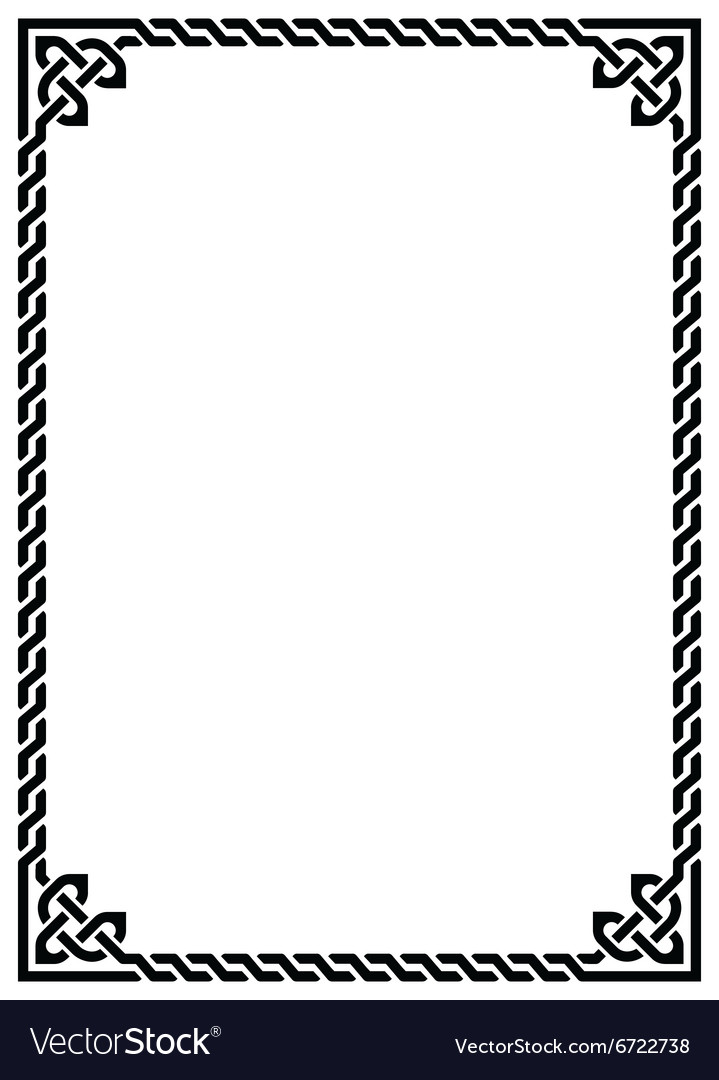 Celtic knot braided frame  rectangle vector