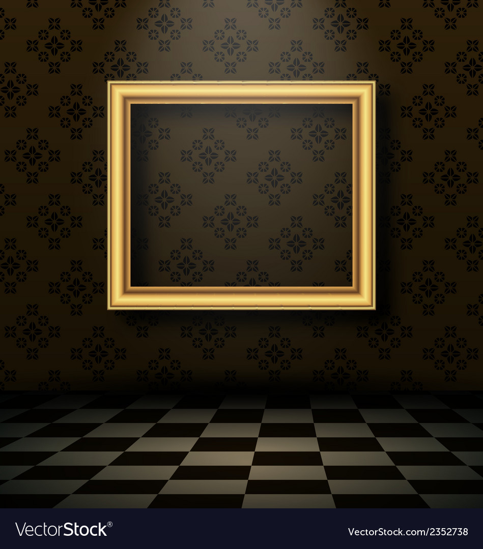 Picture frame in baroque interior style vector