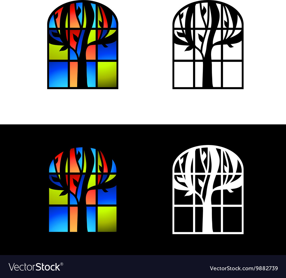 Mosaic glass window vector