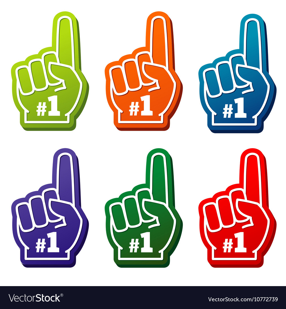Multi colored number 1 foam fingers icons vector