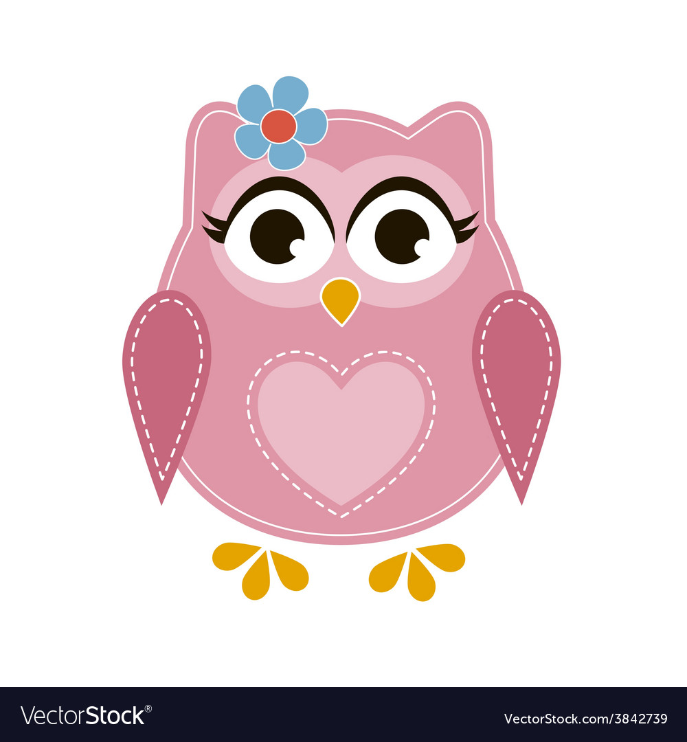 Pink cartoon owl vector