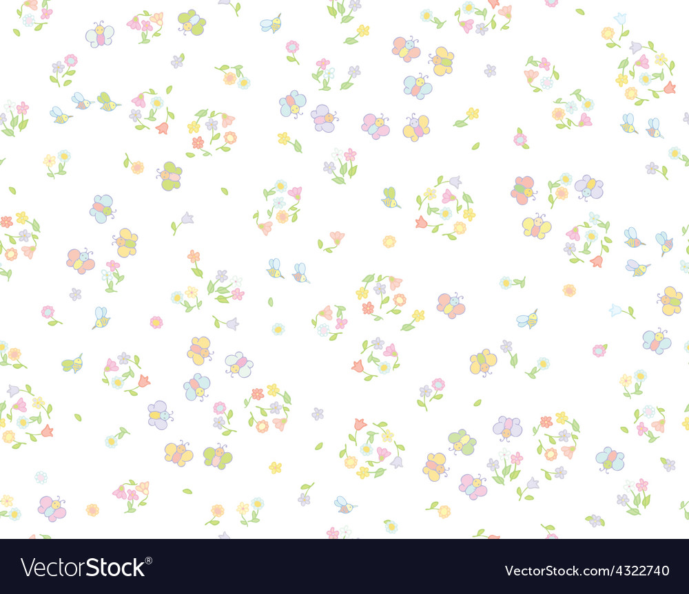 Floral insects pattern vector