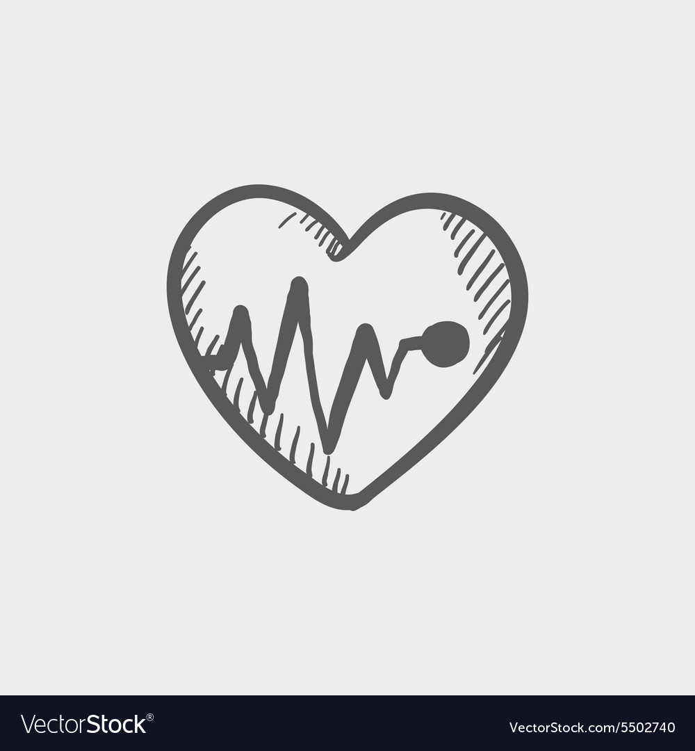 Heart with cardiogram sketch icon vector