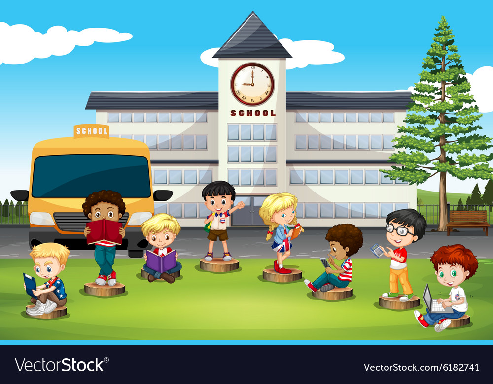 Children standing in front of school vector