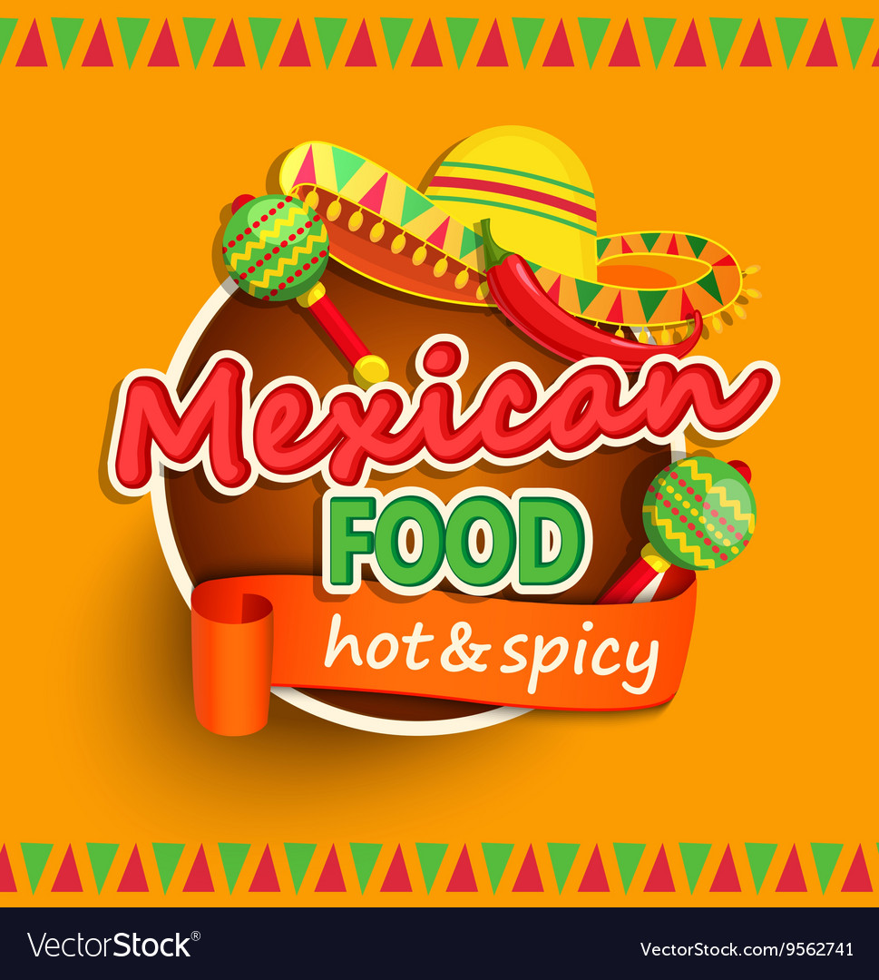 Mexican food label vector