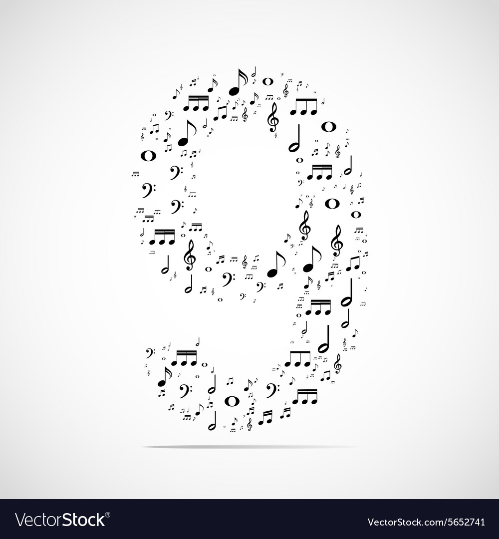 Number nine made from music notes vector