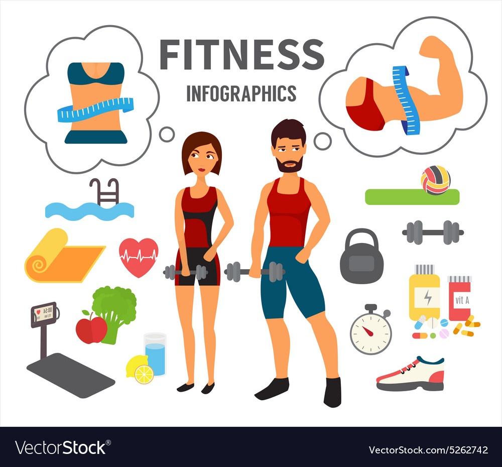 Fitness infographic icons vector