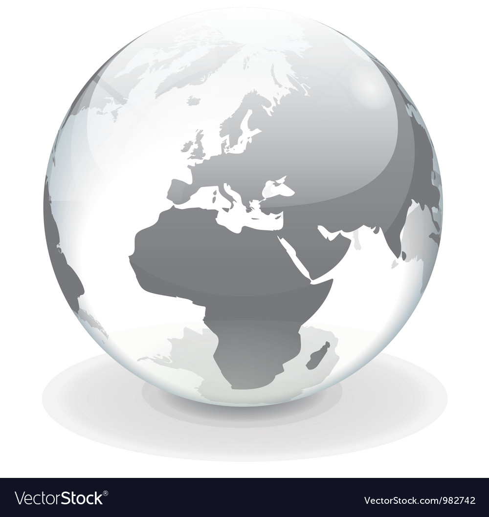 Transparent globe of europe vector