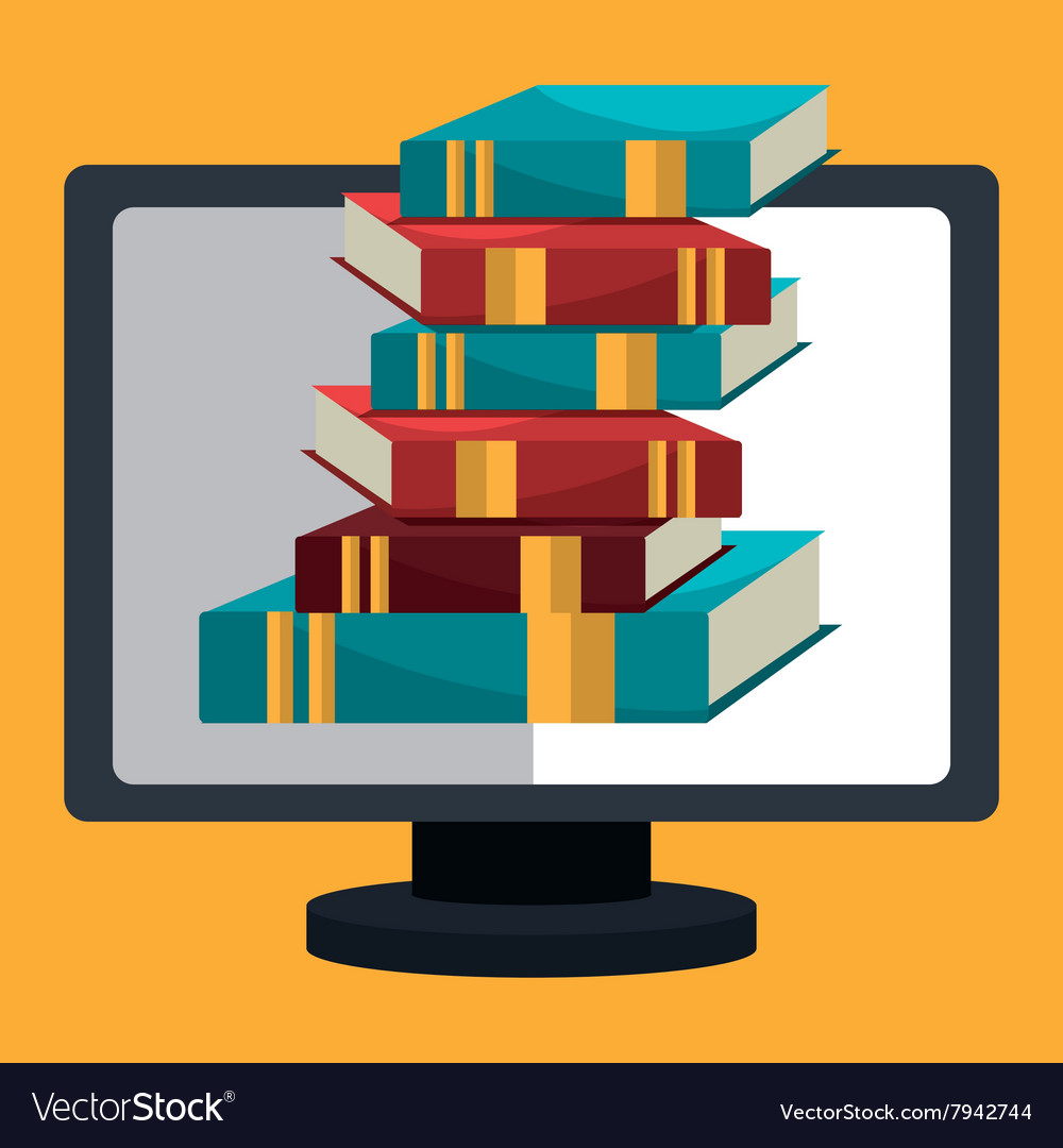 Elearning and online books vector