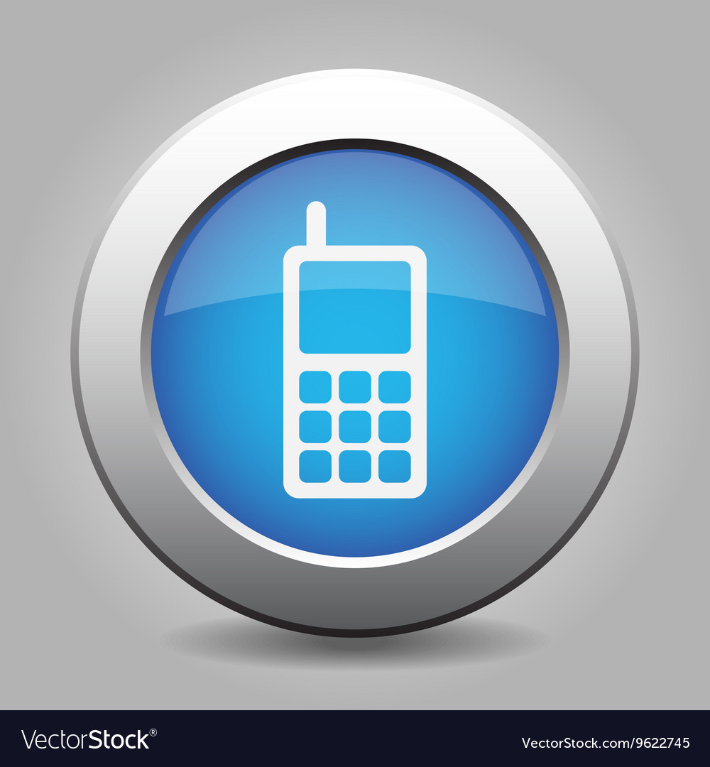 Blue metal button with old mobile phone vector