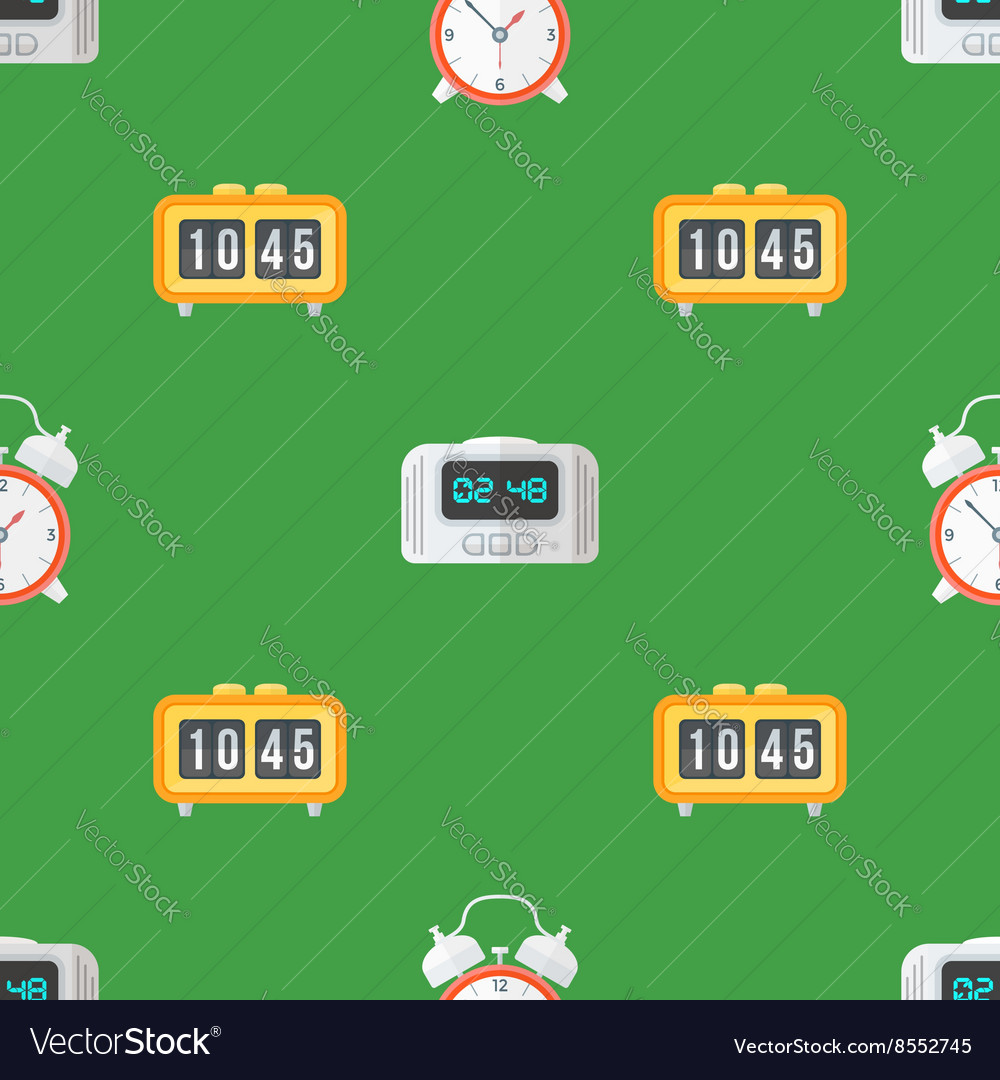 Clock watches seamless pattern vector