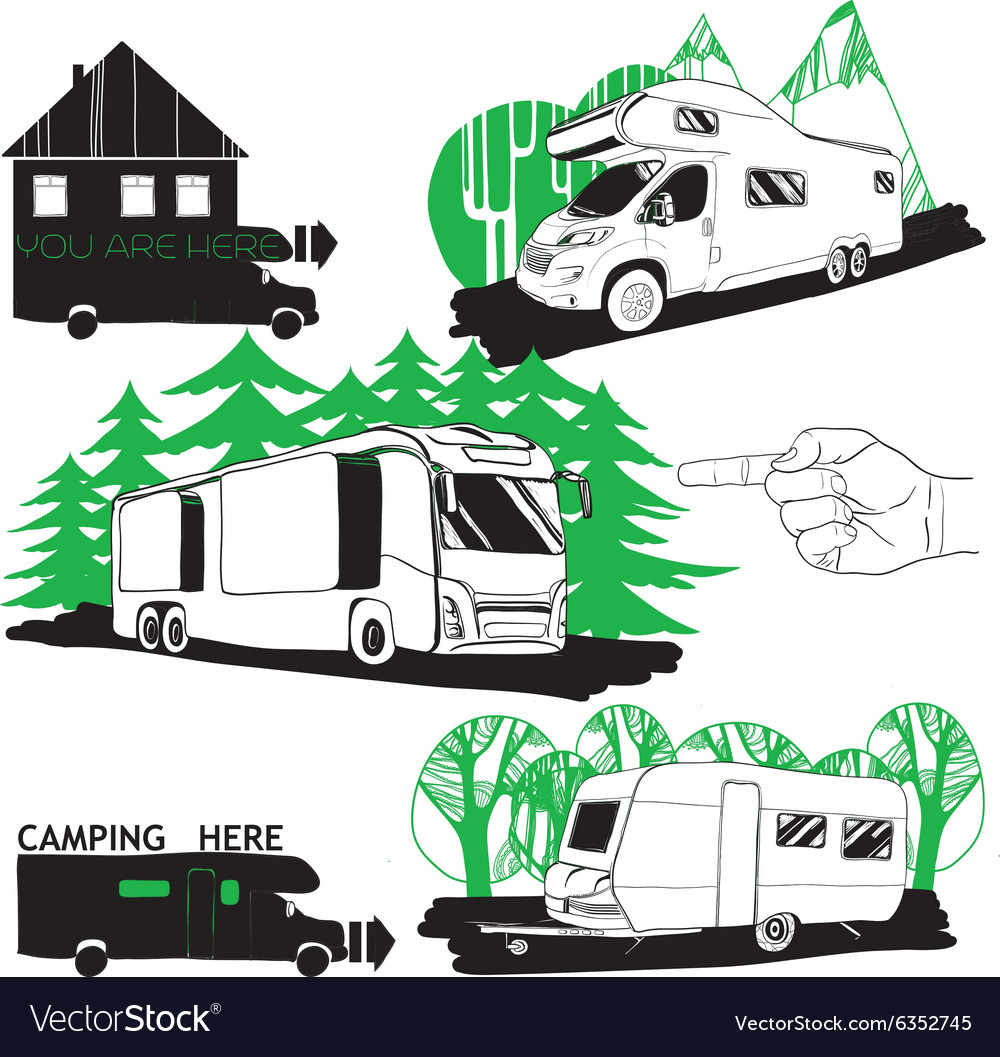 Set of different motorhomes and points camping vector