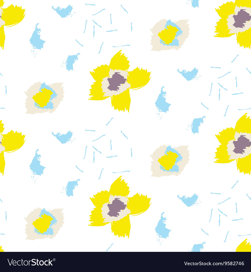 Brush stroke yellow bold florals seamless pattern vector