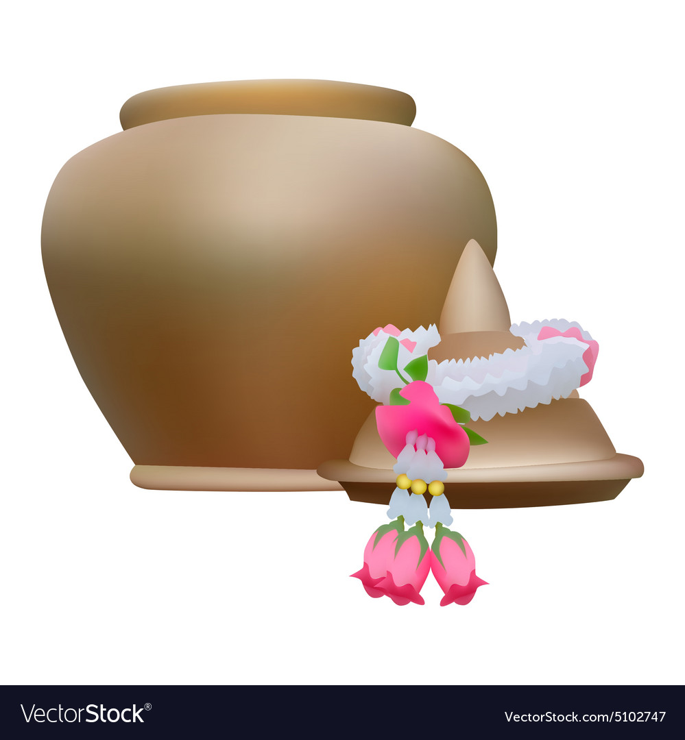 Clay pot with garland vector