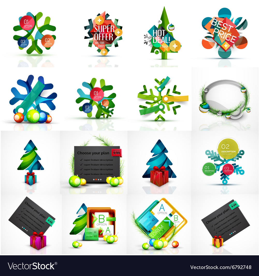 Set of various geometric abstract christmas vector