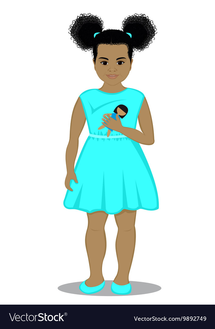 Little girl with a doll vector