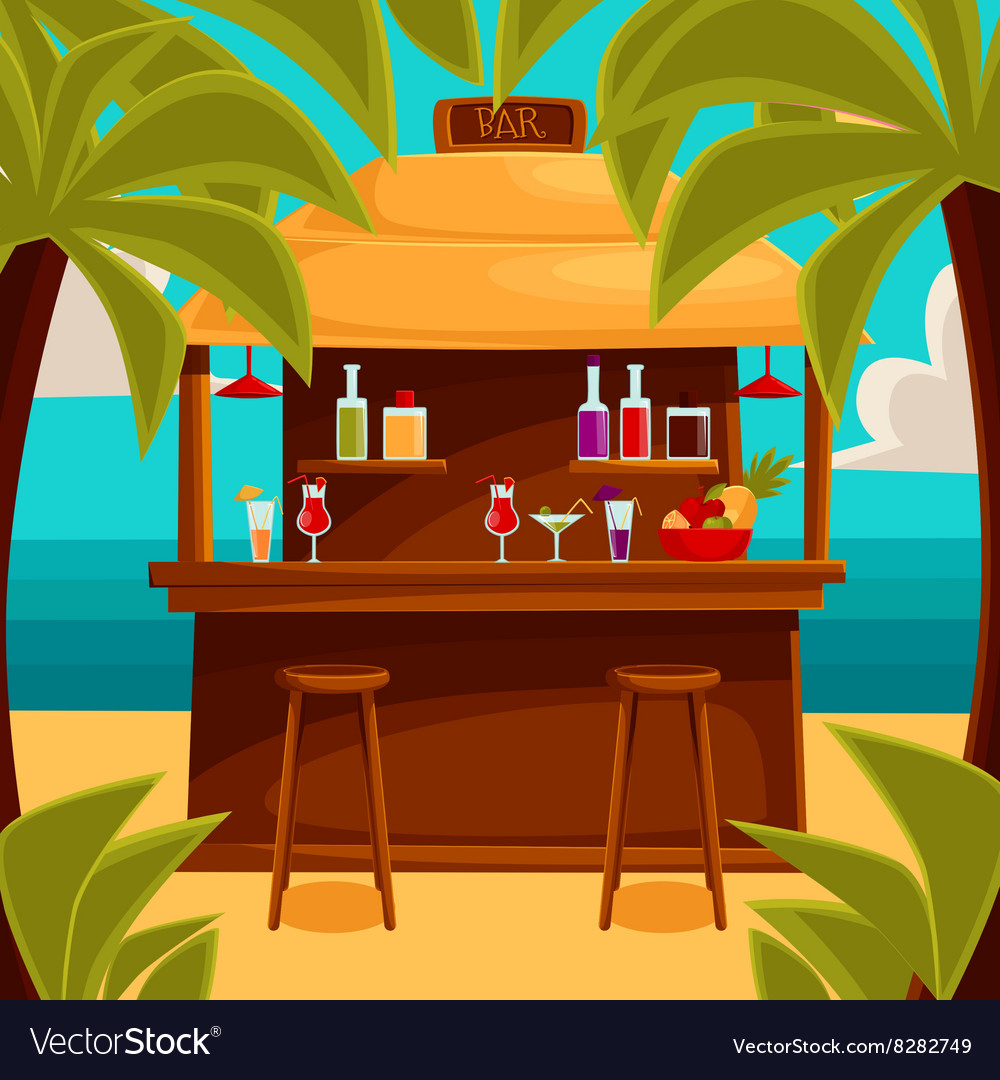 Summer bar beach cafe with palm trees vector