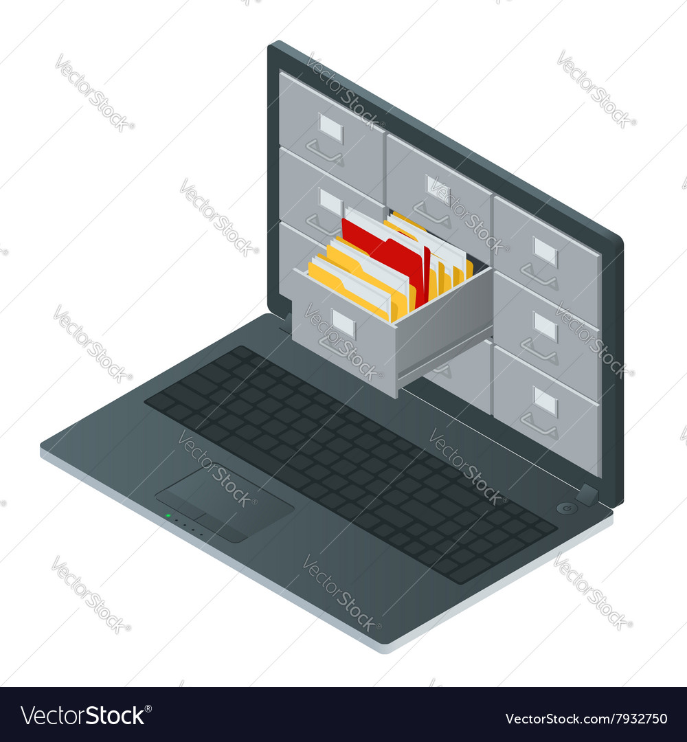 File cabinets inside the screen of laptop computer vector