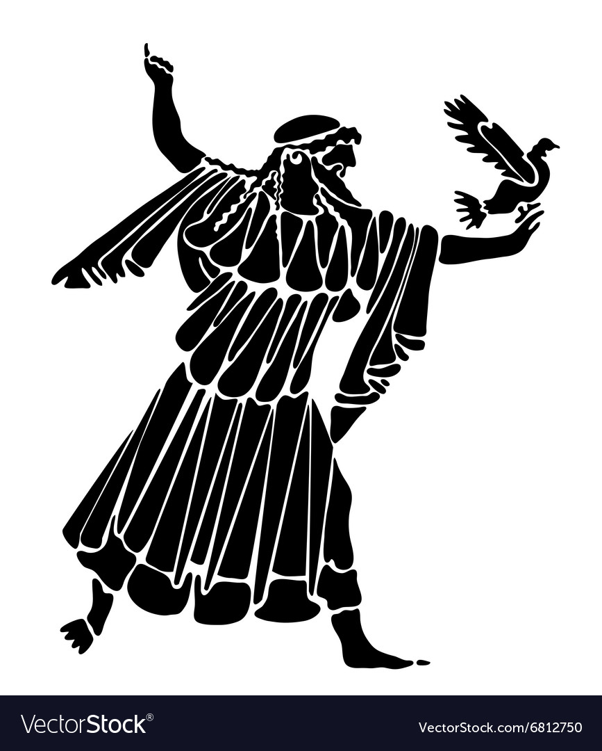 Tattoo of the greek with a pigeon in a hand vector