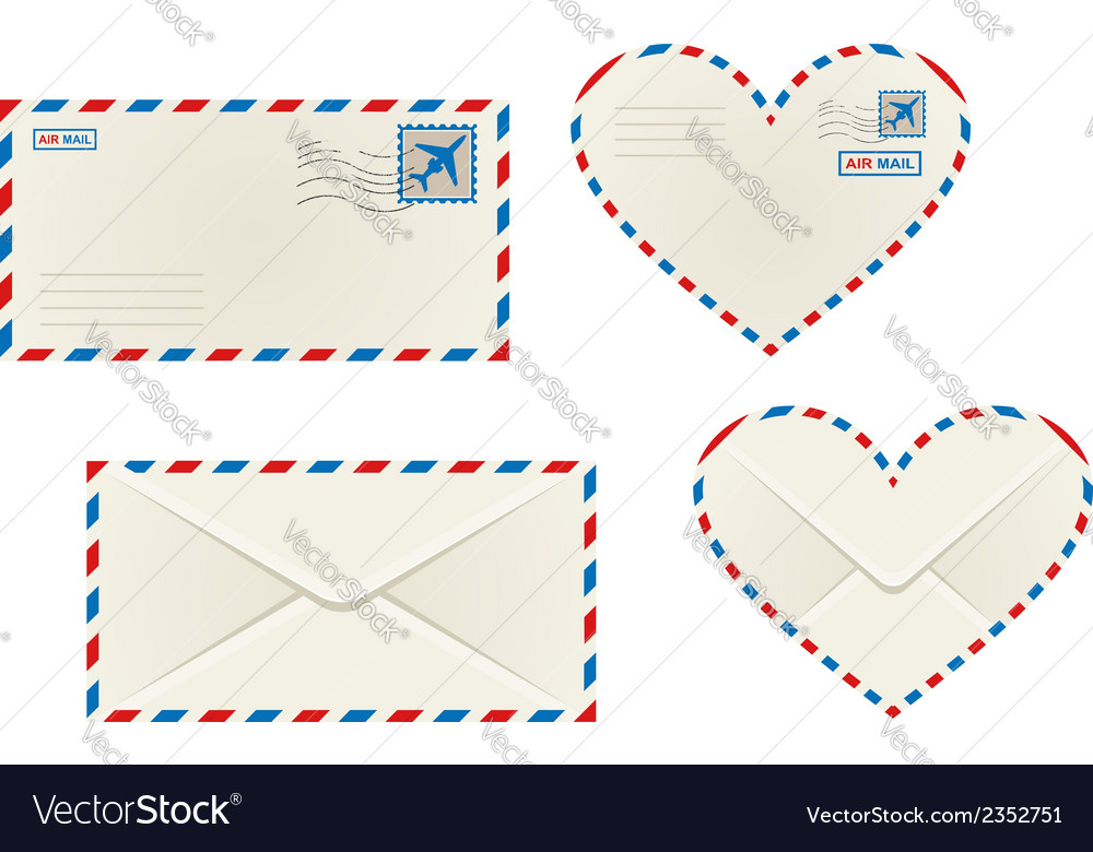 Different airmail envelopes vector