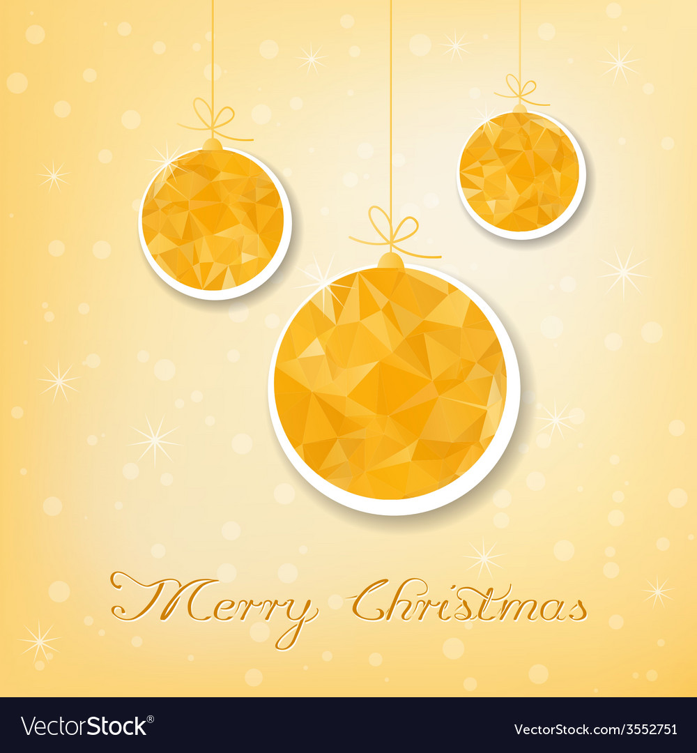 Gold christmas balls with triangle filling vector