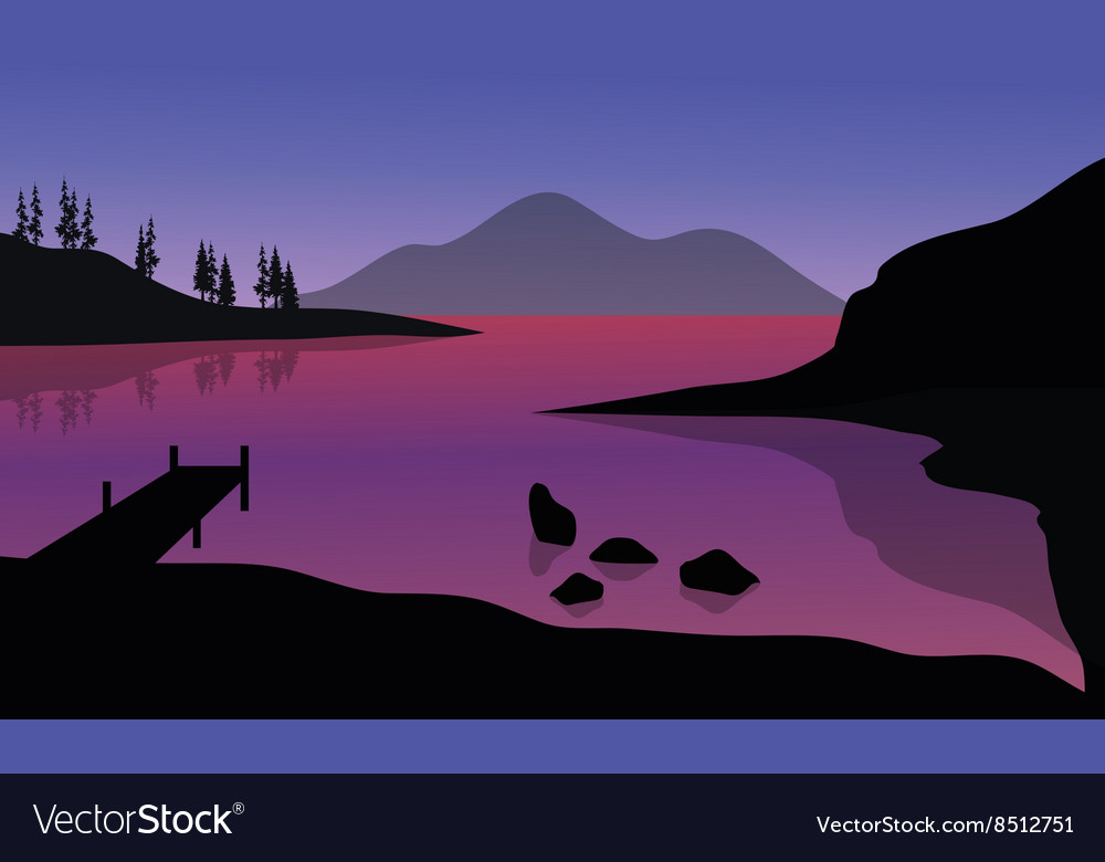 Silhouette of pier and mountain in sea vector