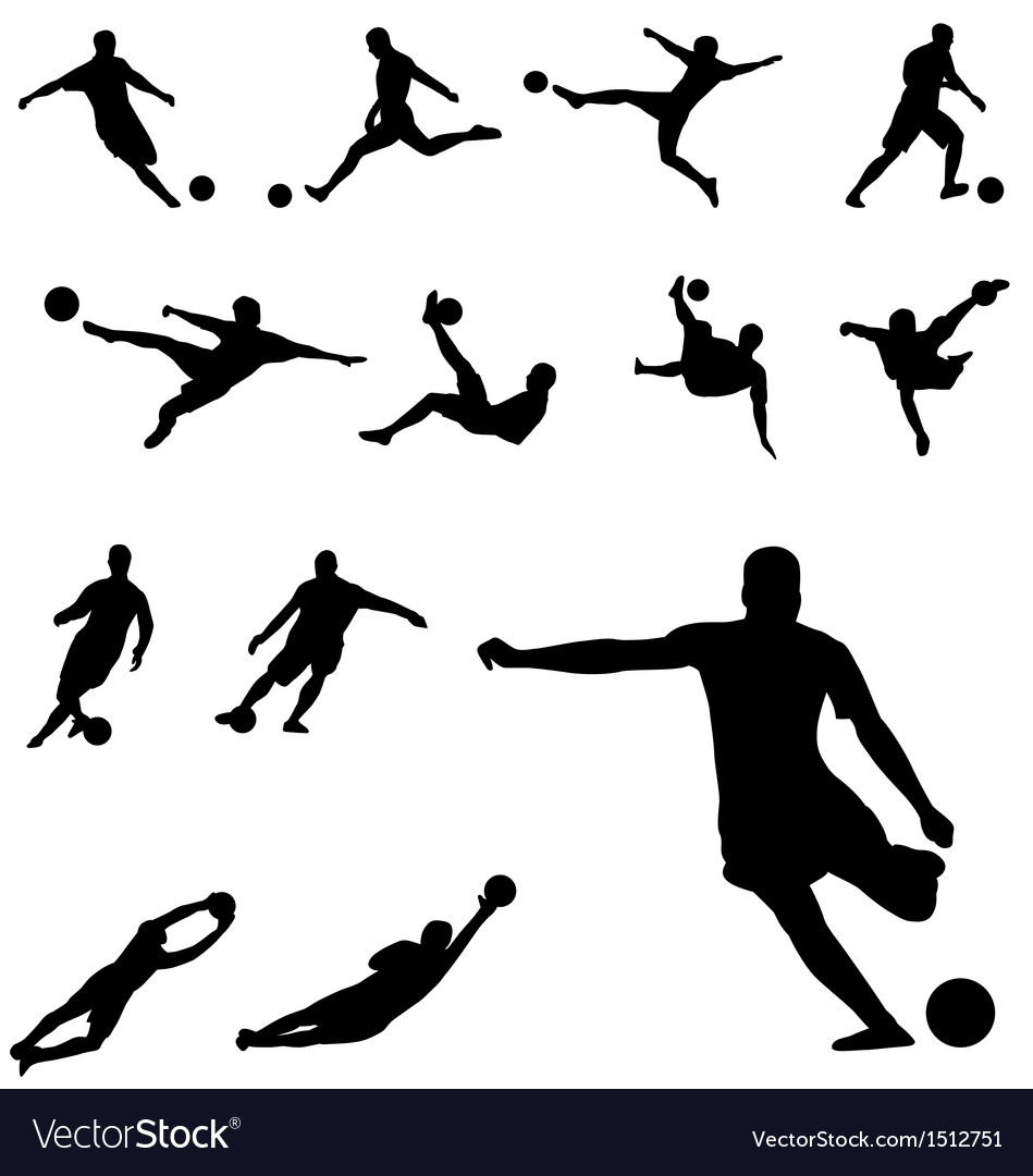 Soccer silhouettes set vector