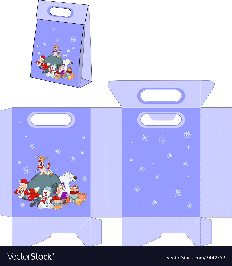 Santa claus and his helpers handbags packages vector