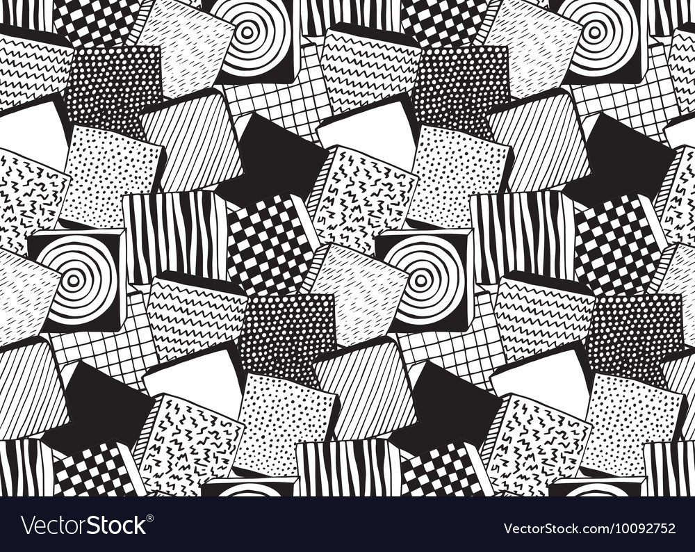 Seamless pattern with hand drawn blocks vector