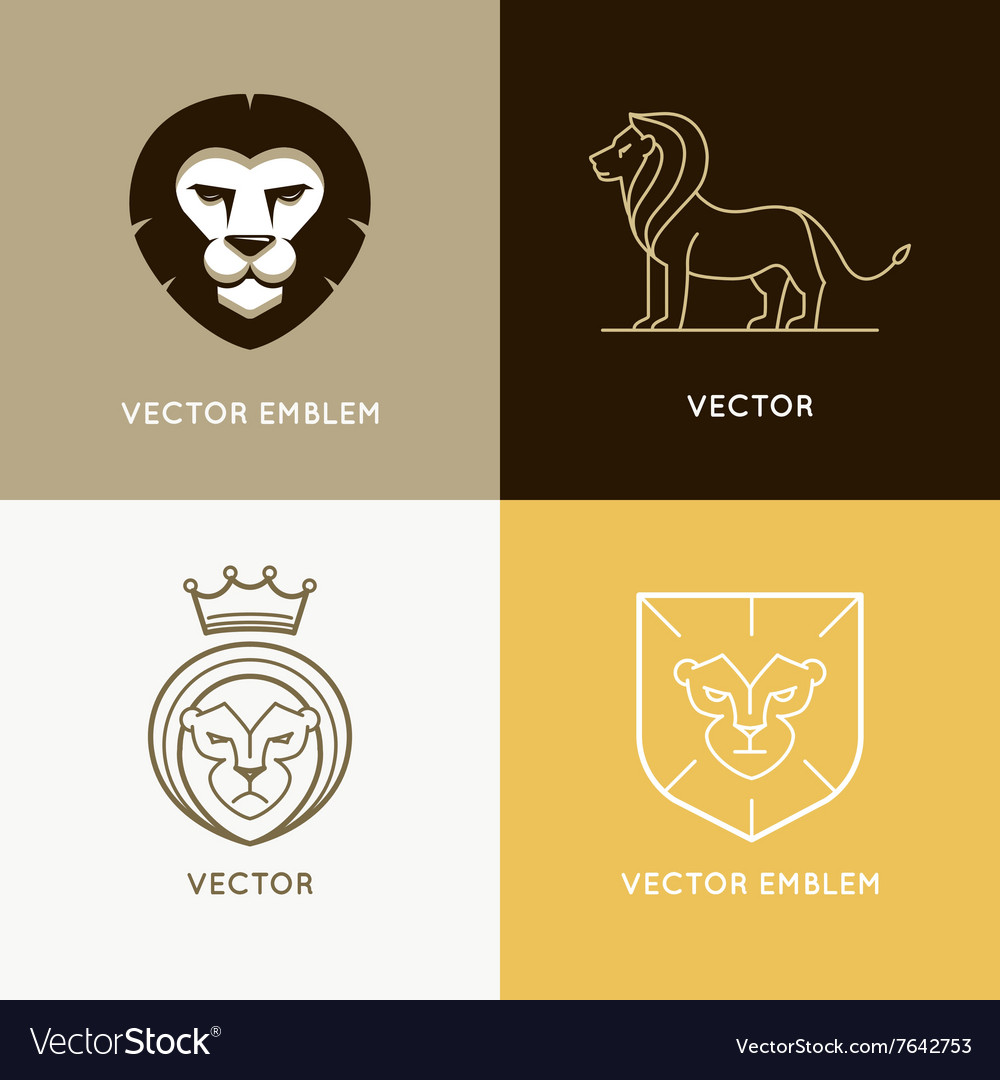Set of lion logo design templates and ebmlems vector