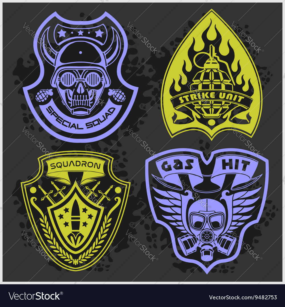 Set of military  army patches and badges 4 vector
