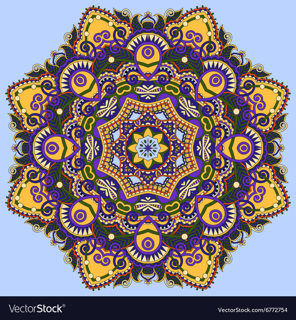 Colour mandala circle decorative spiritual indian vector