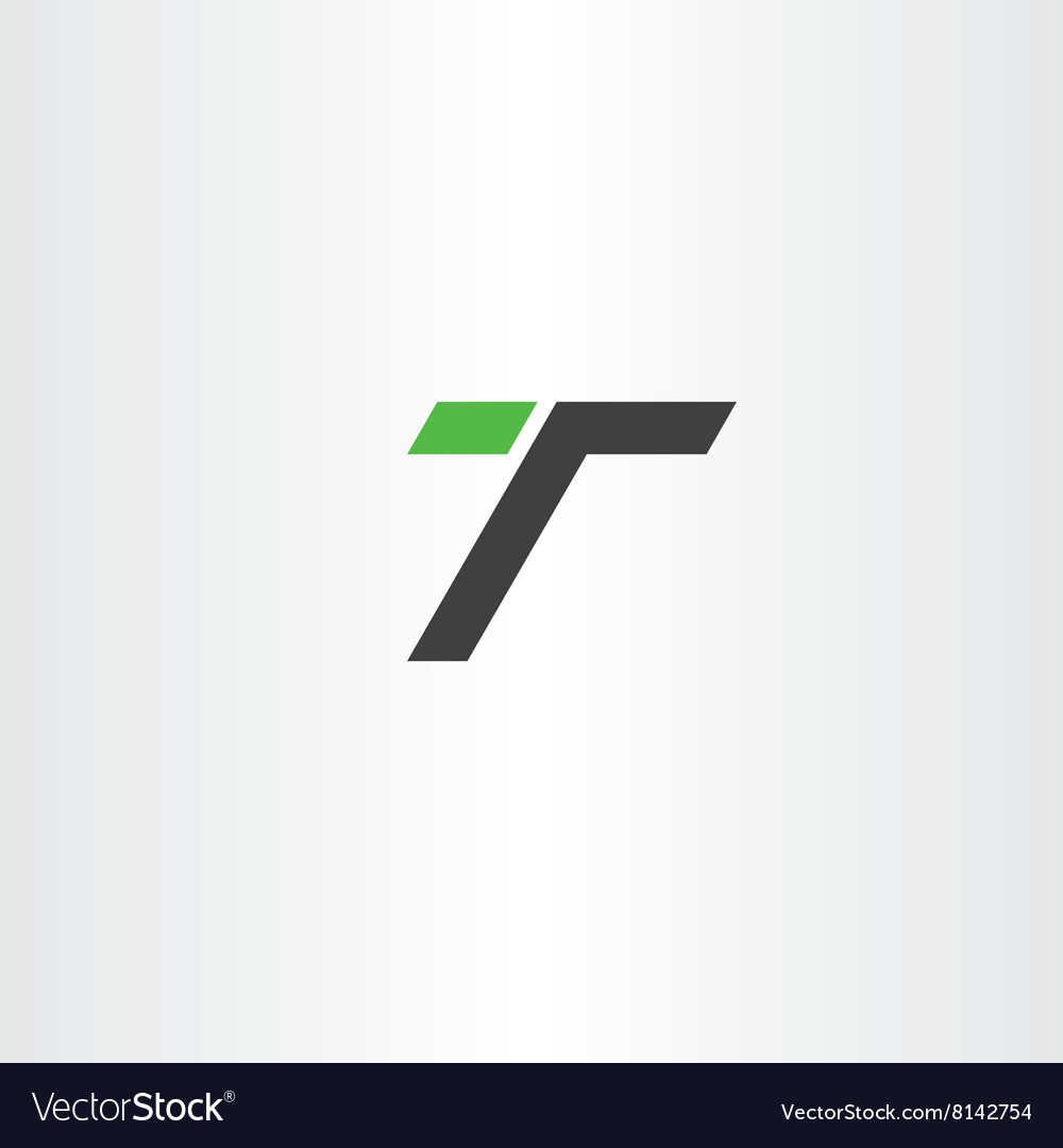 Letter t green black simple logo icon vector