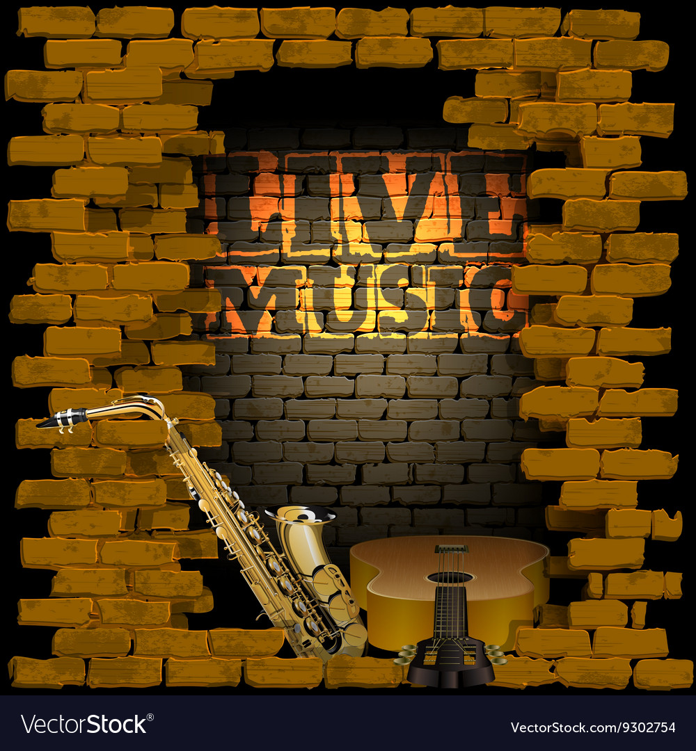 Live music brick wall saxophone and guitar vector