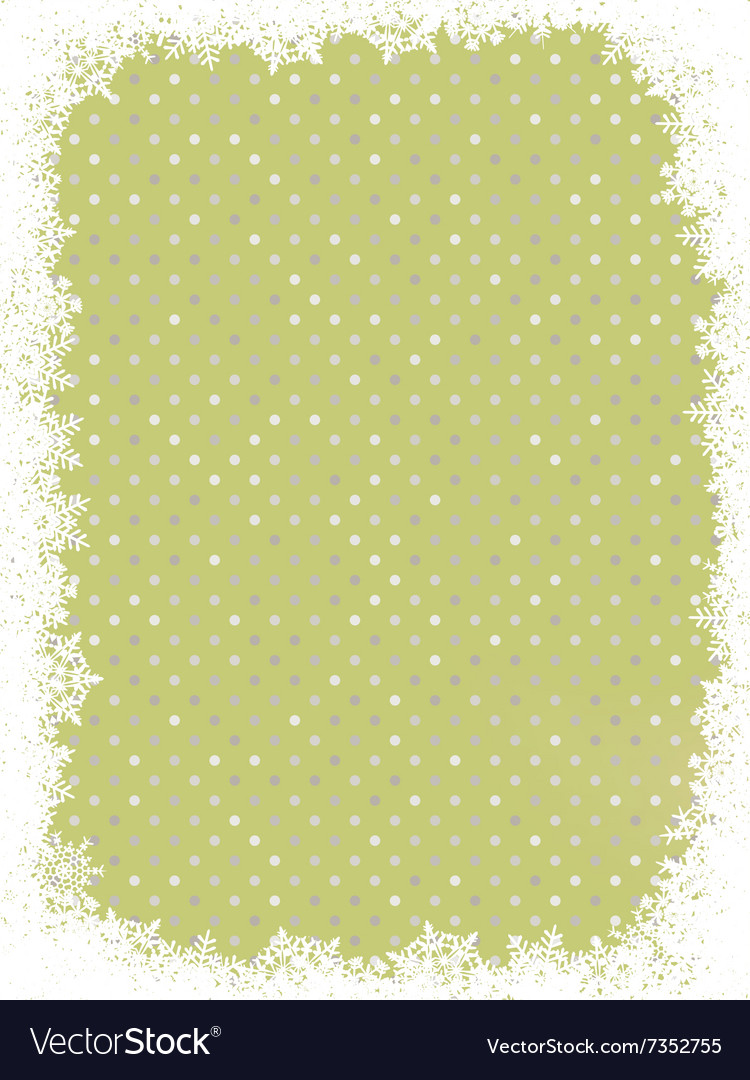 Green polka dot design with snowflakes eps 8 vector