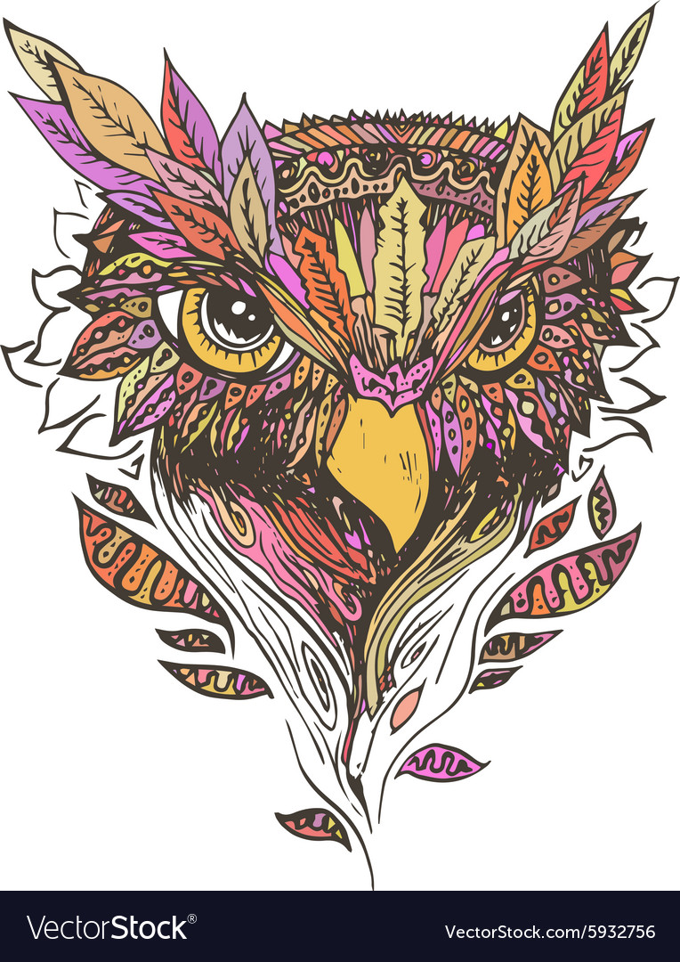 Abstract colored owl print vector