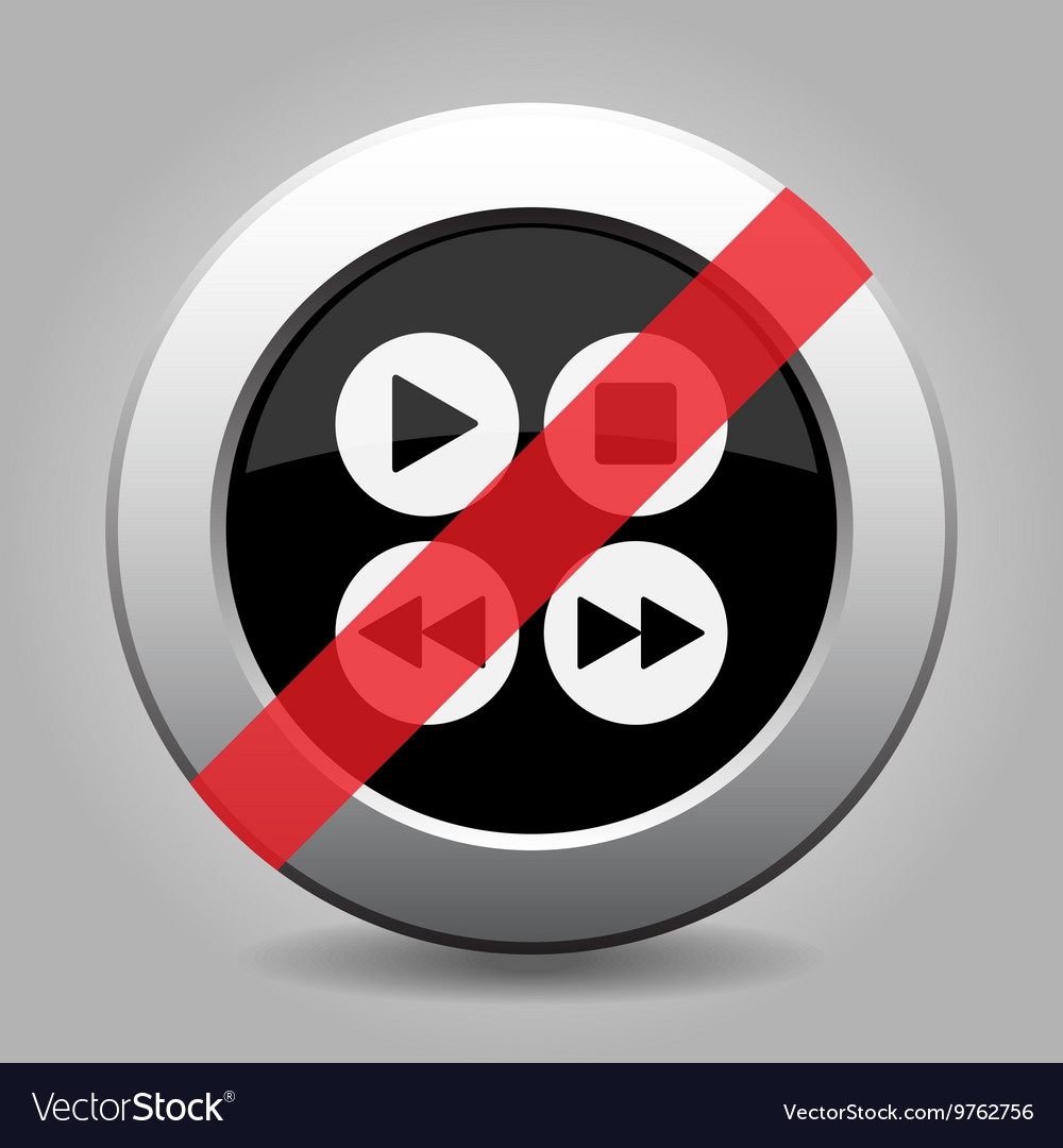 Gray chrome button  no four music control buttons vector