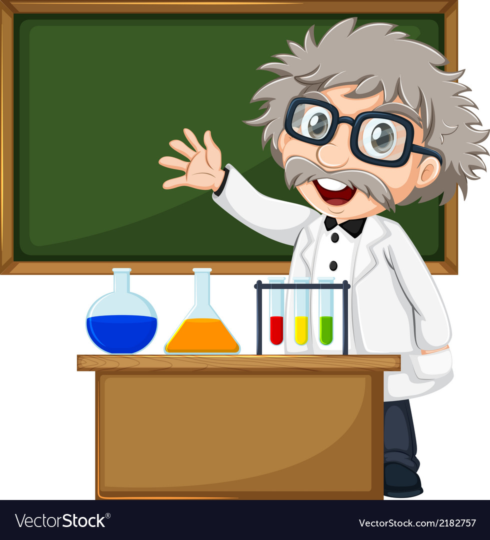 A scientist in front of the empty blackboard vector