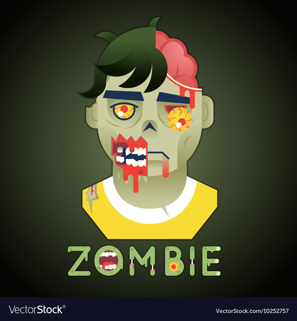 Halloween party zombie role character bust icons vector