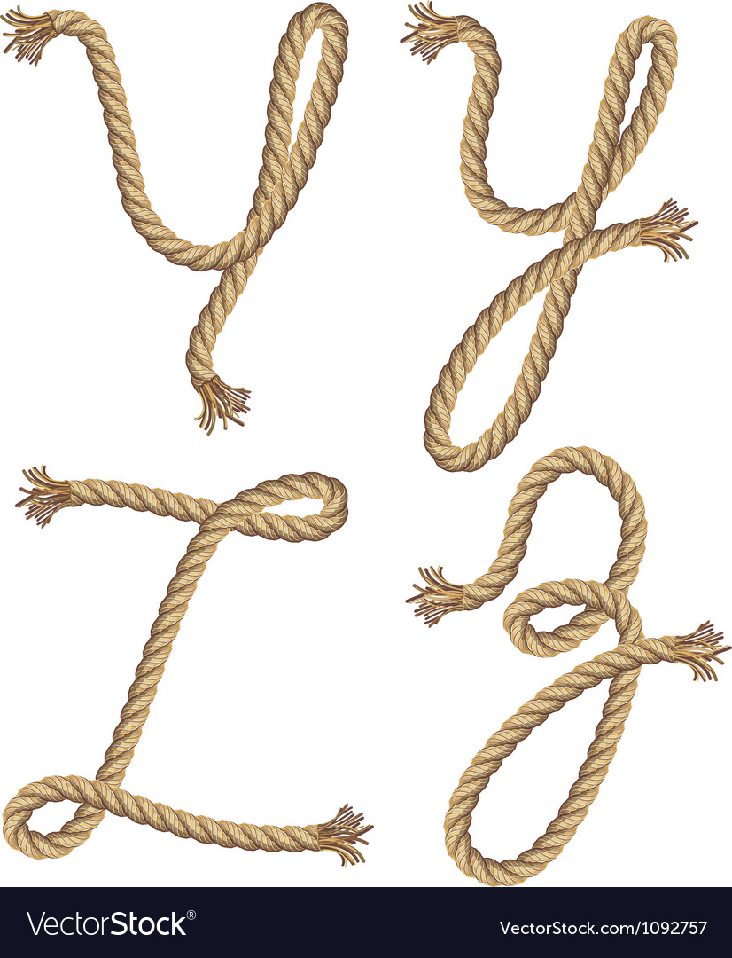 Rope alphabet font style vector