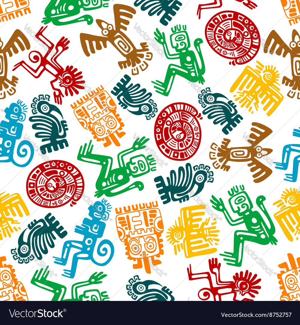 Seamless mayan and aztec pattern of animal totems vector