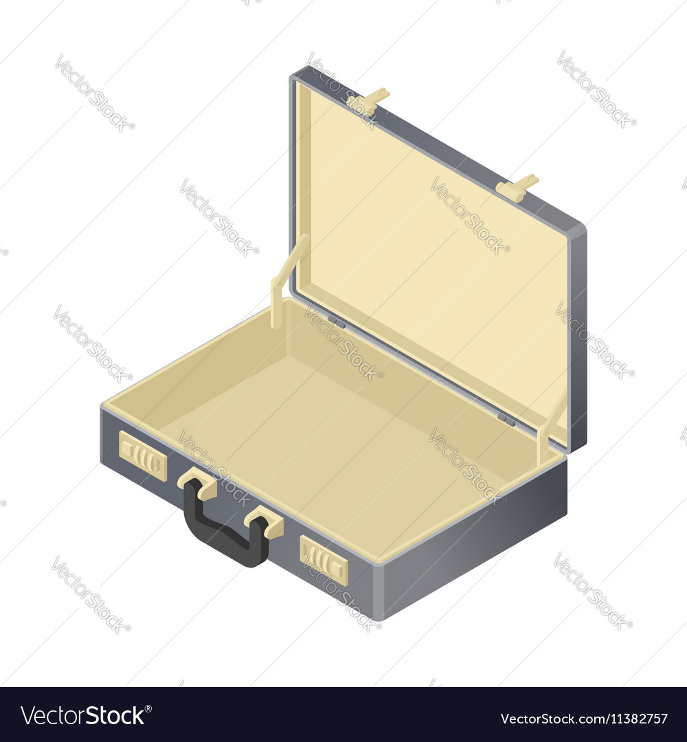 Suitcase empty isolated isometric style blank case vector