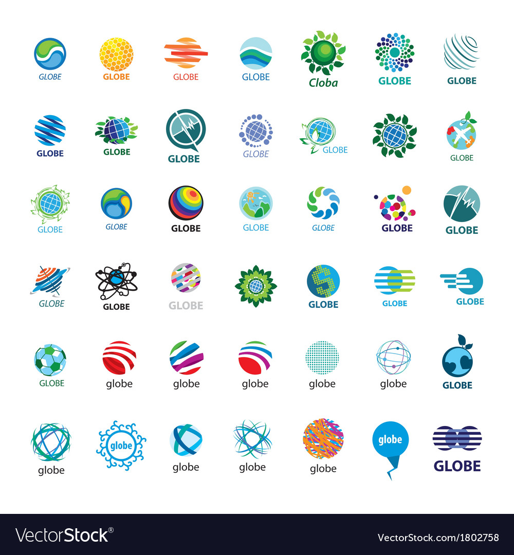 Biggest collection of logos globe vector