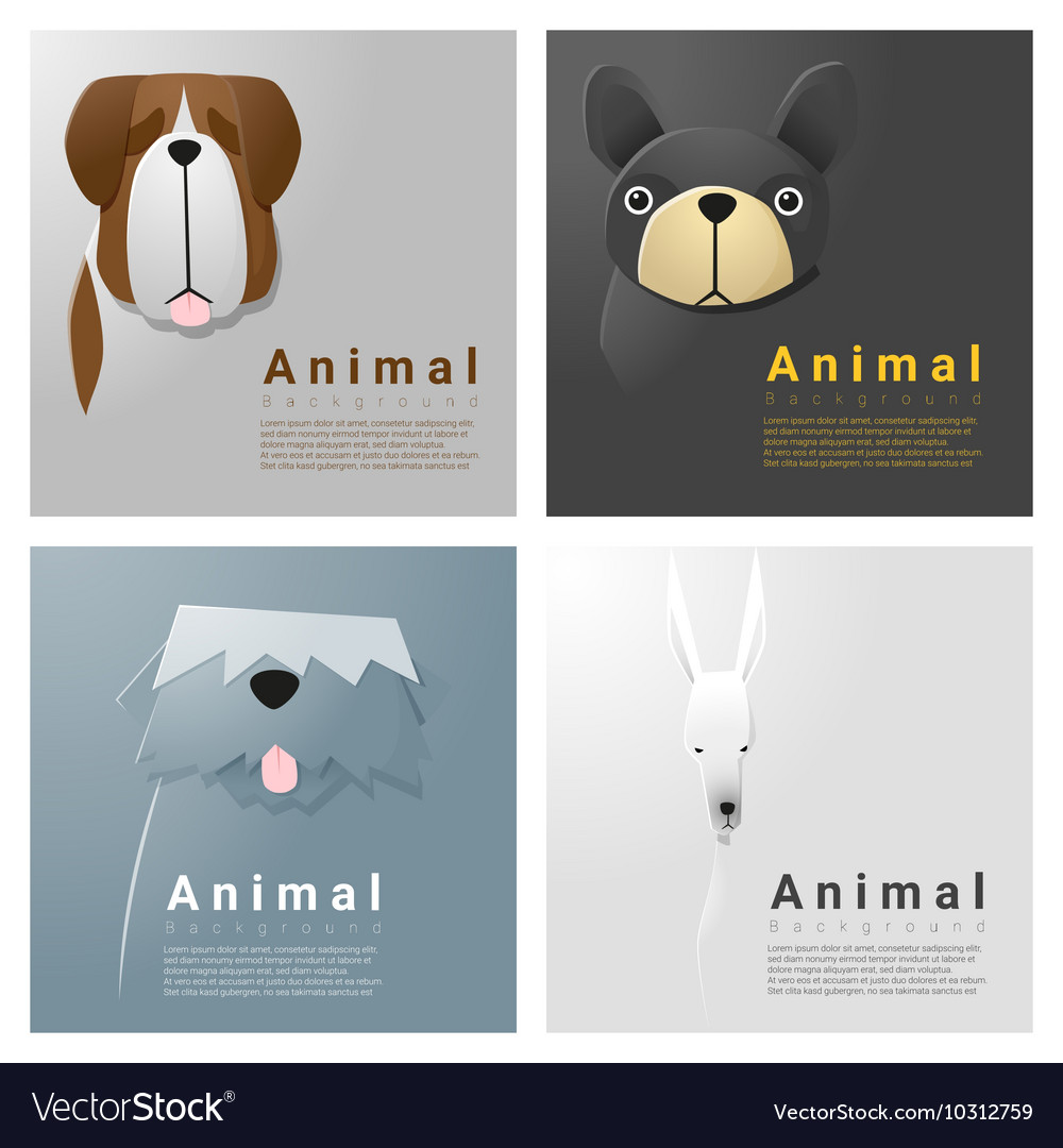 Animal portrait collection with dogs 3 vector