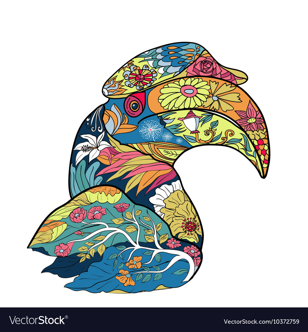 Line art and coloring of great hornbill bird vector