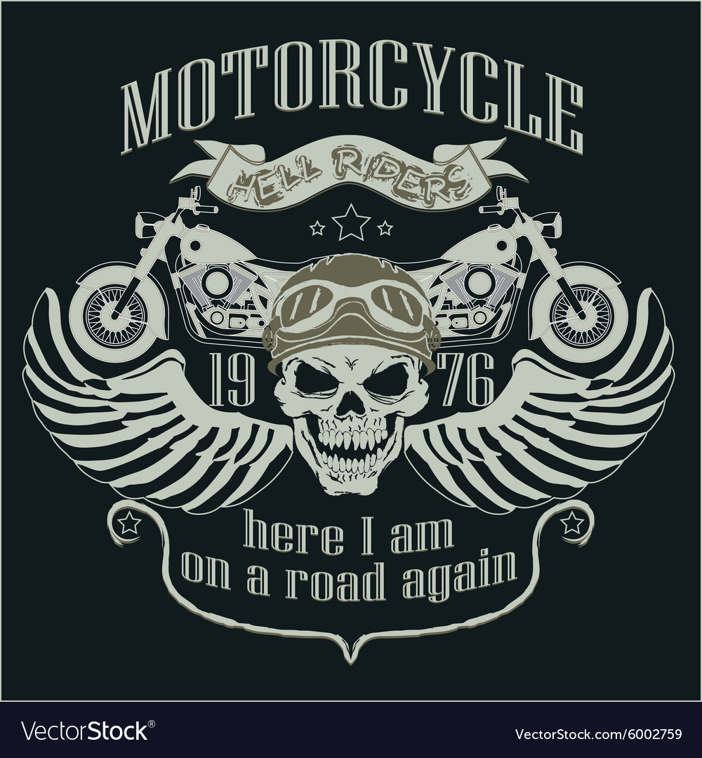 Motorcycle design template logo skull rider  vector