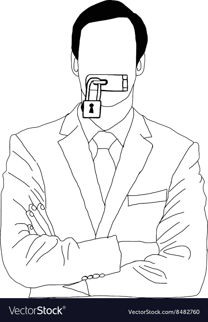 Hand drawn doodles of businessman lock his mouth vector