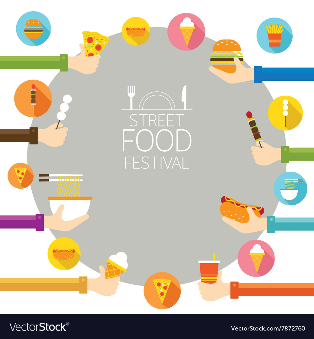 Hands holding food with icons frame vector